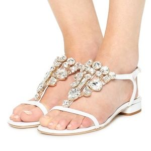NEW Kate Spade Fedra Ivory Crystal T-Strap Sandals